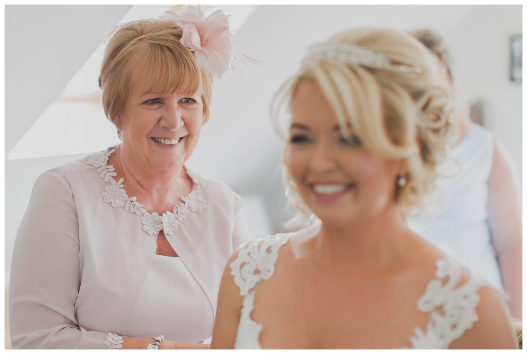 Mum looking at bride
