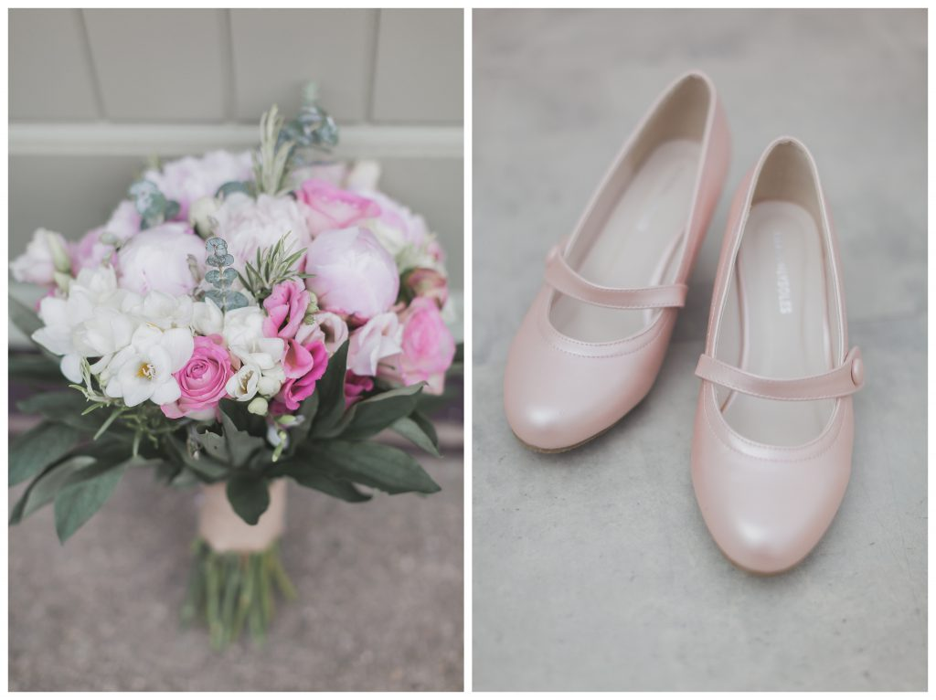 Bridal bouquet and Mary Jane shoes