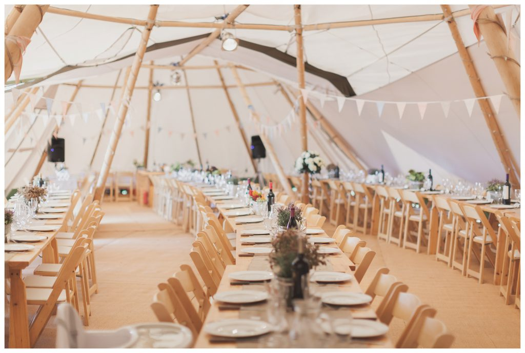 Inside of the tipi wedding space