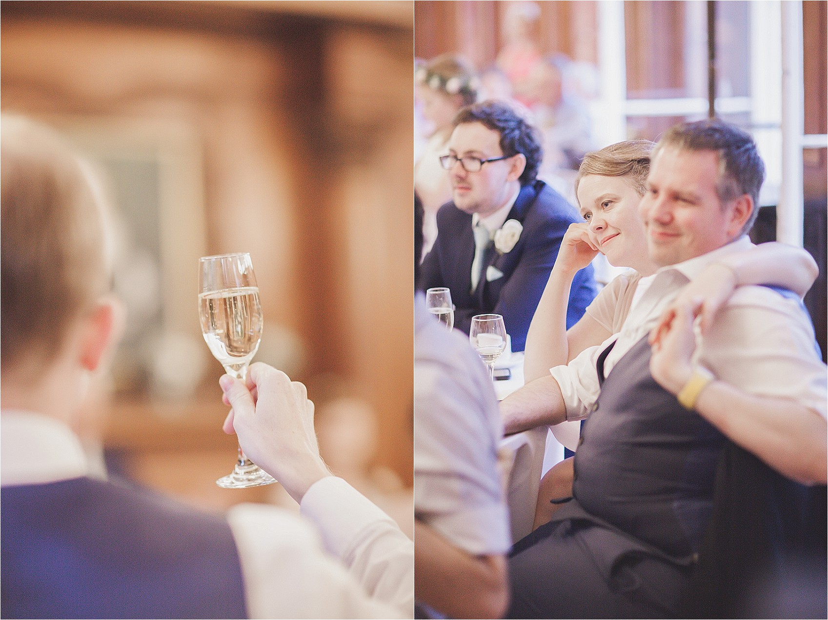 Guests toasting bride and groom