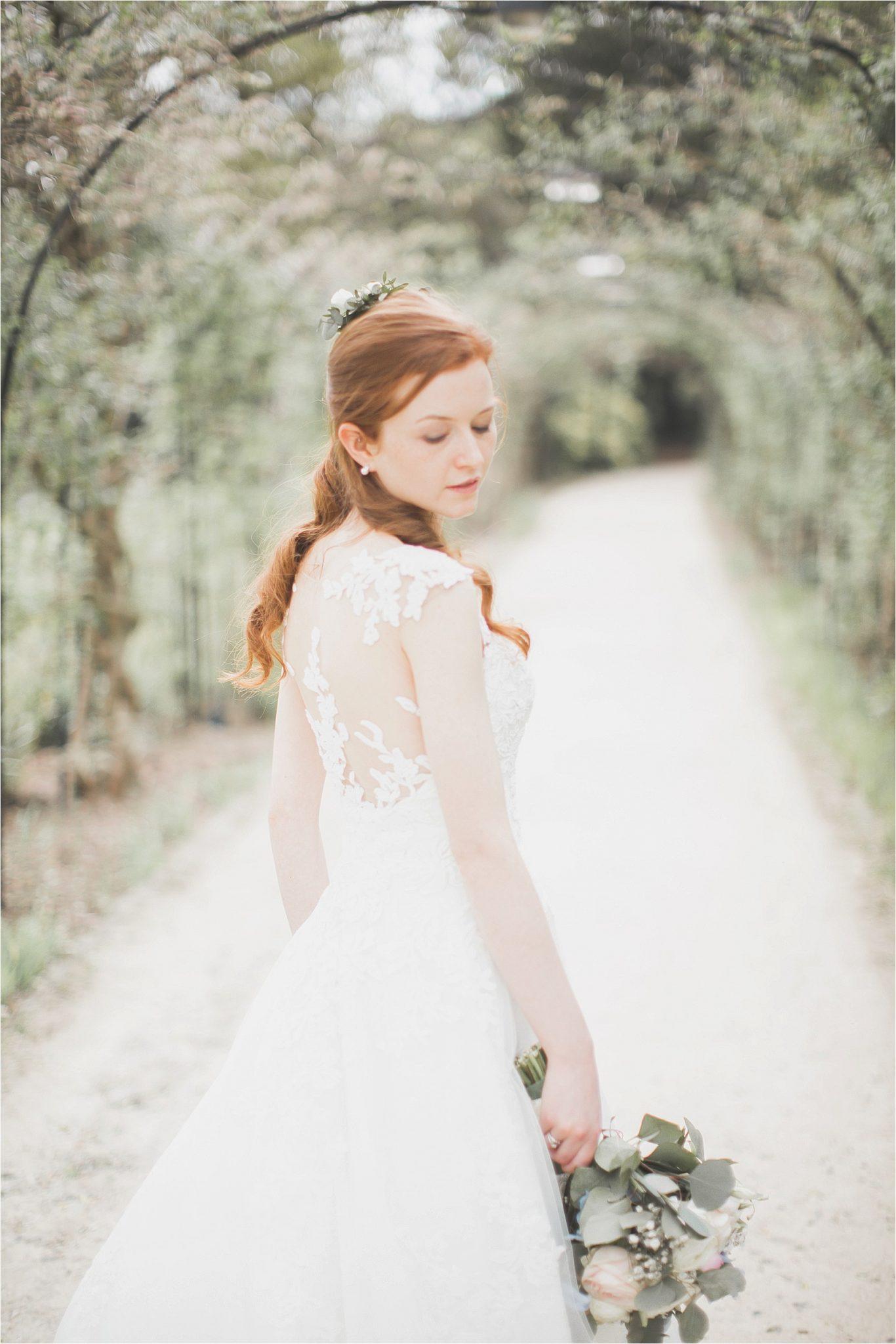 photo of bride looking over her shoulder