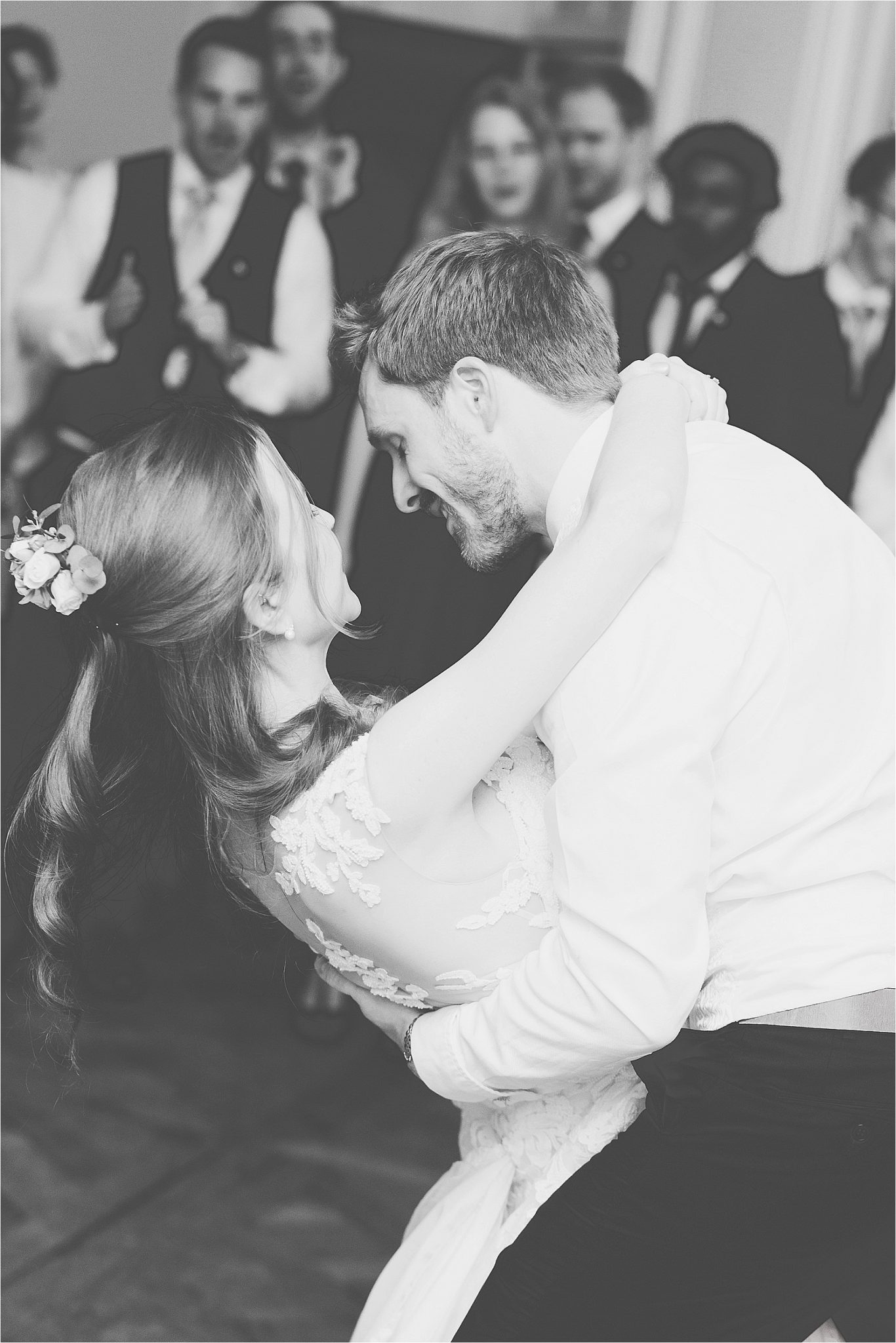 Bride and groom dancing. Picture in black and white