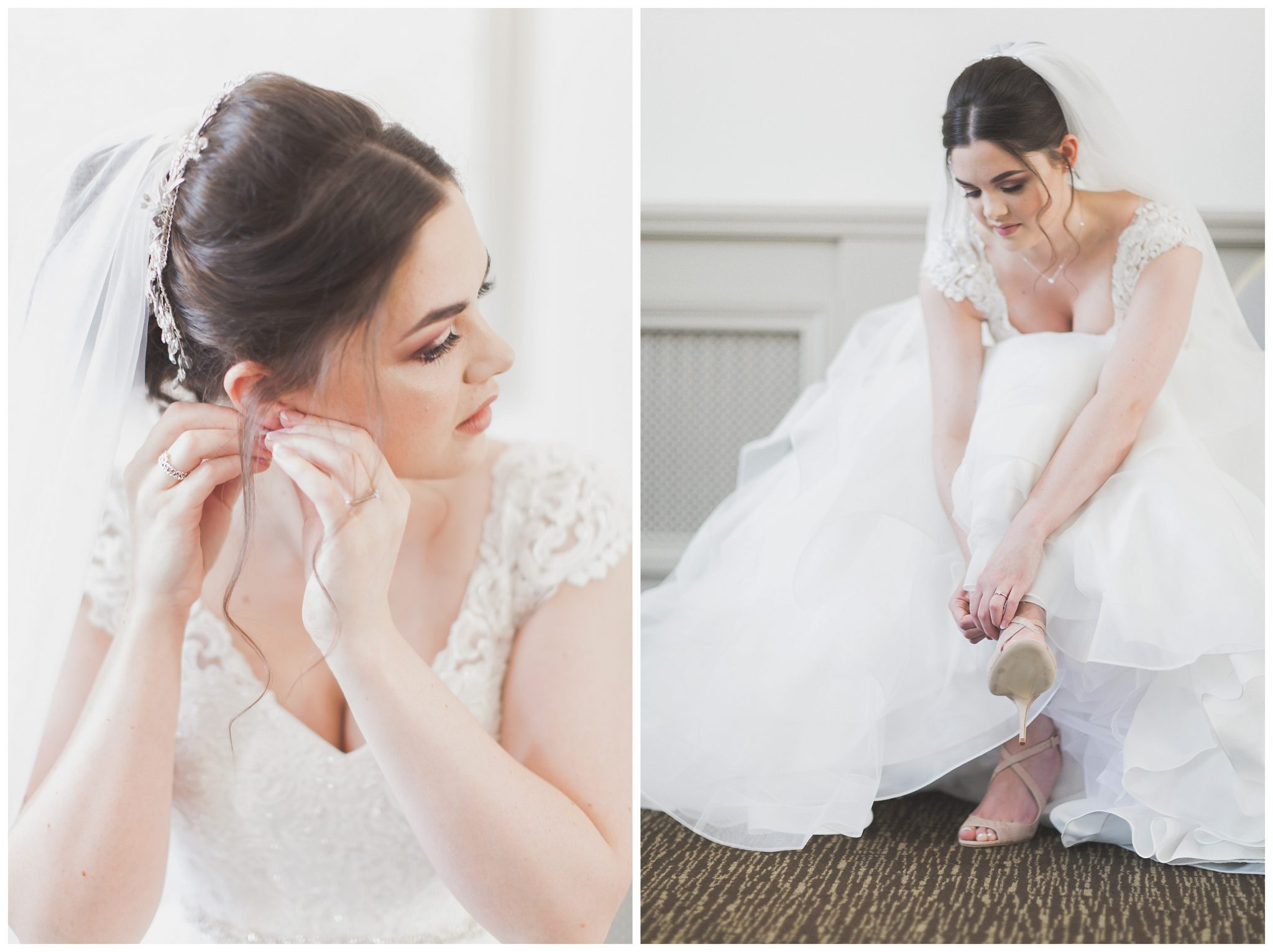 Bride putting shoes and earnings on