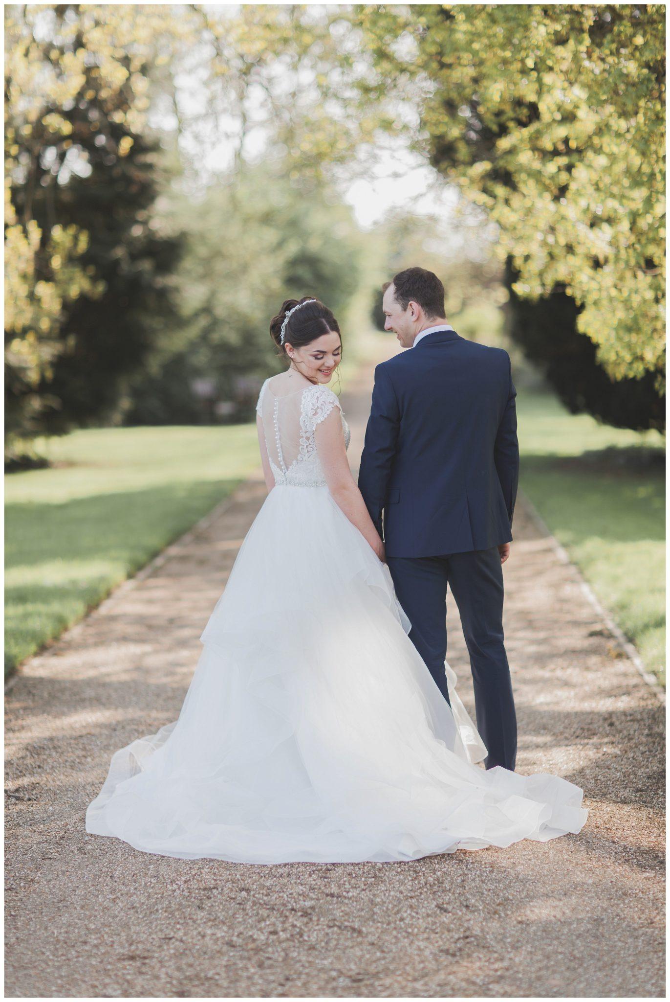 Bride looking over her shoulder smiling