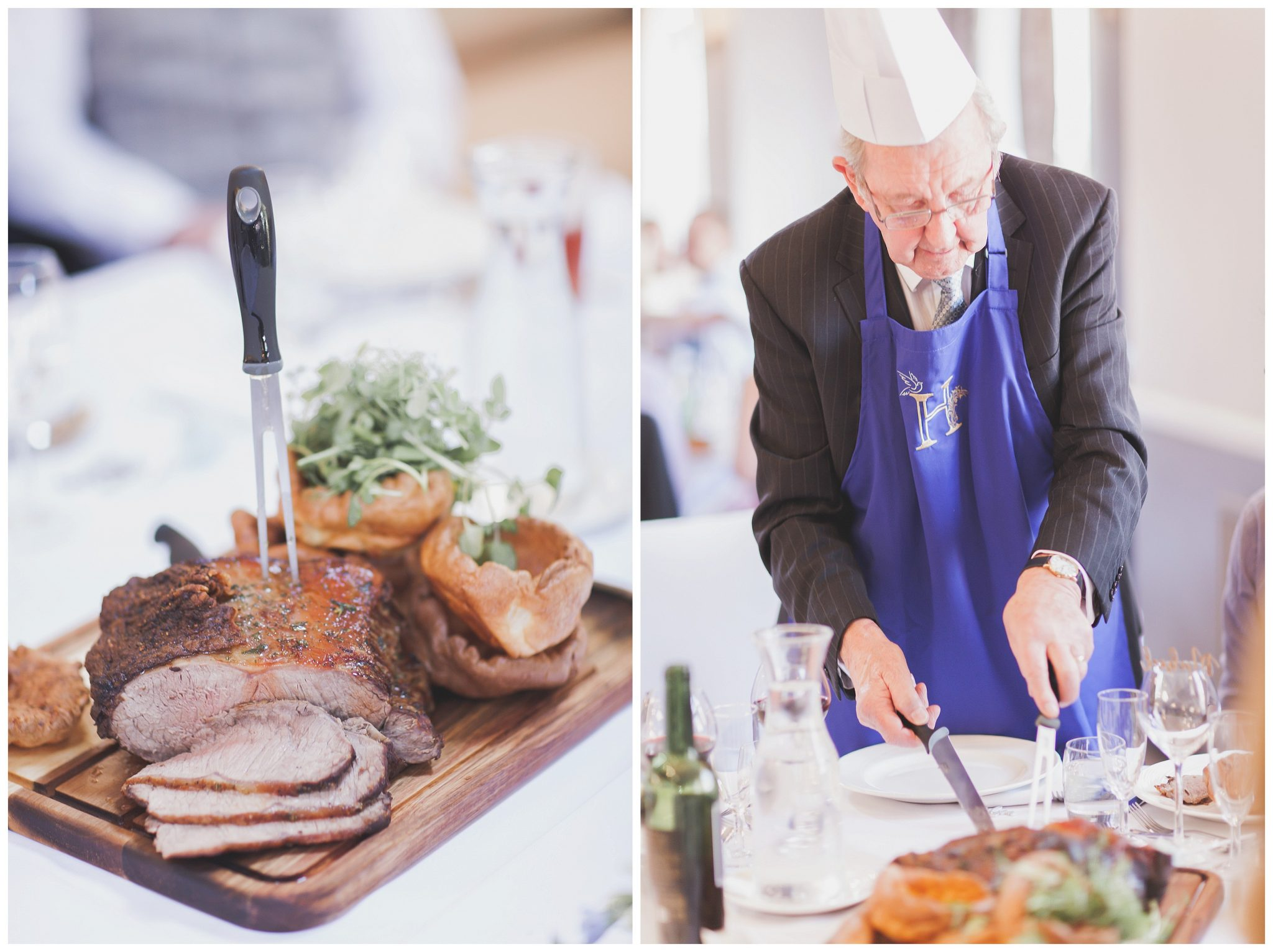 Pictures of the food and granddad curving the meat