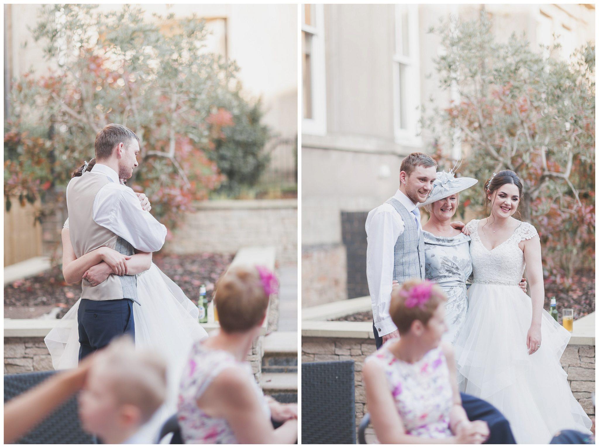 Bride hugging her brother