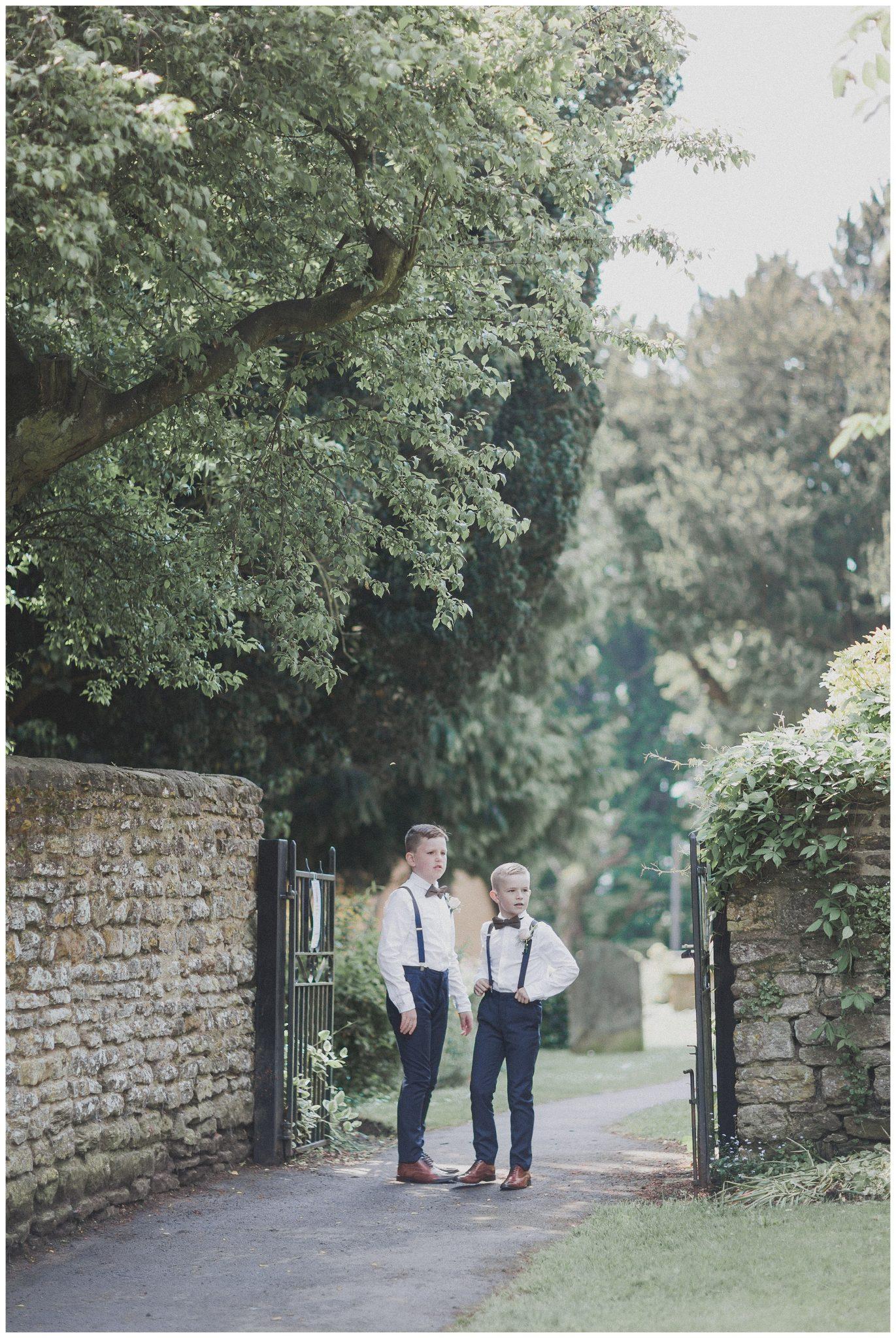 The boys waiting at the church gate