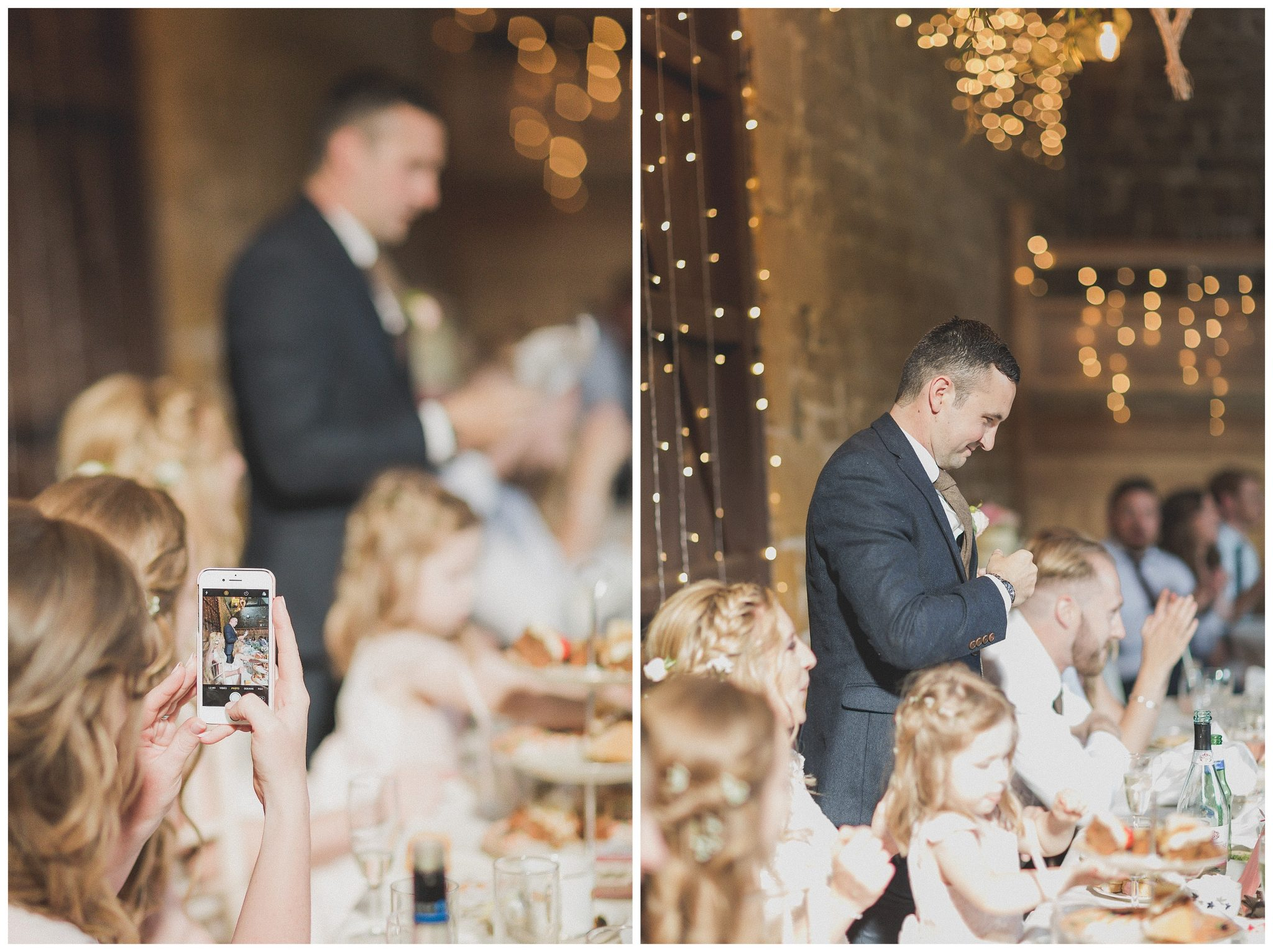 Groom doing his speech and someone taking a photo of him